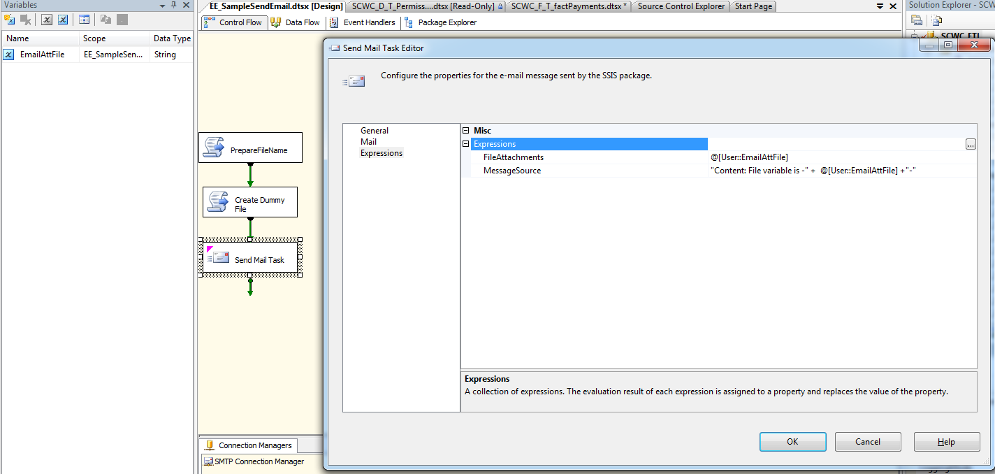 SSIS 2005 - Send Mail Task, How to attach a variable FileAttachments