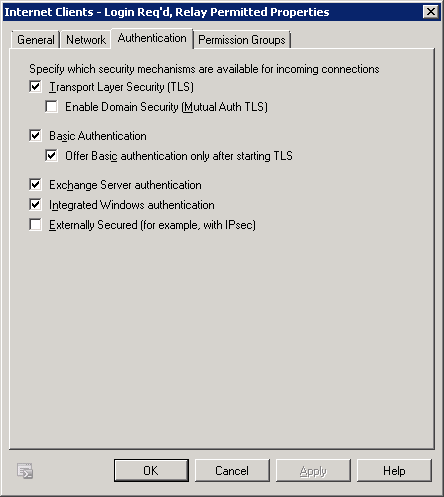 Exchange 2010 Receive Connector - Authentication Settings