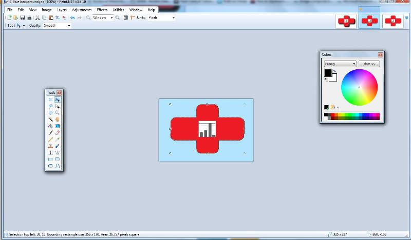 Use the magic wand on the red cross and invert and copy to blue bckg