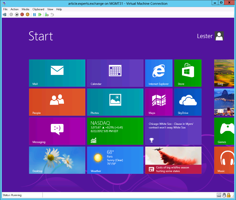 Virtual Machine running Windows 8 Enterprise