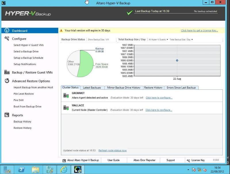 Cluster Hyper-V 2012 using ESXi 5.0 and Altaro Backup