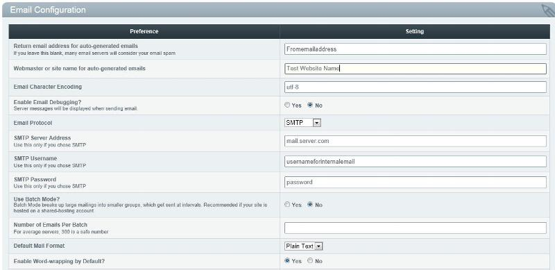 Website SMTP Settings