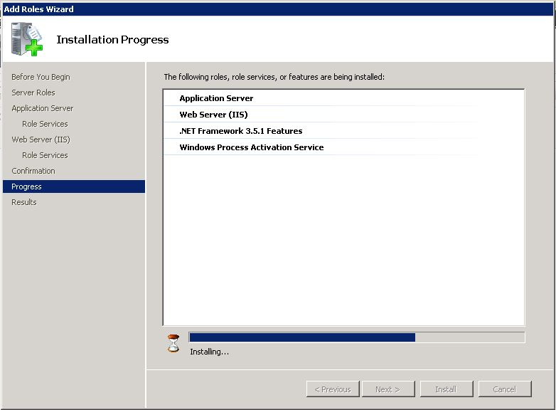 This wizard appears to be installing everything at once - WAS, IIS, .NET 3.5...