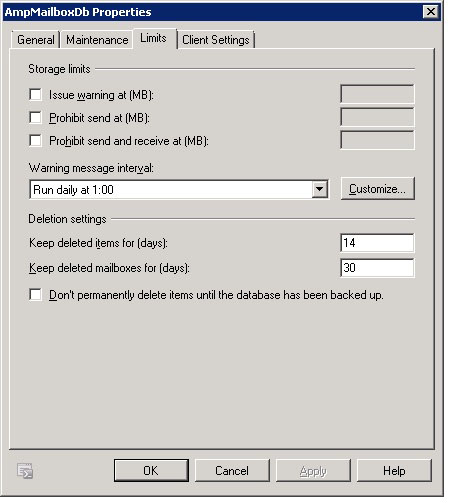 Exchange 2k10 Mailbox Database properties