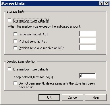 Windows / Exchange 2k3 User Mailbox properties in AD