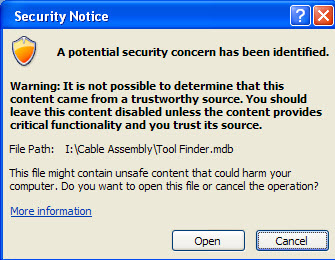 Security Warning Access 2007 RT while opening Access 2003 DB