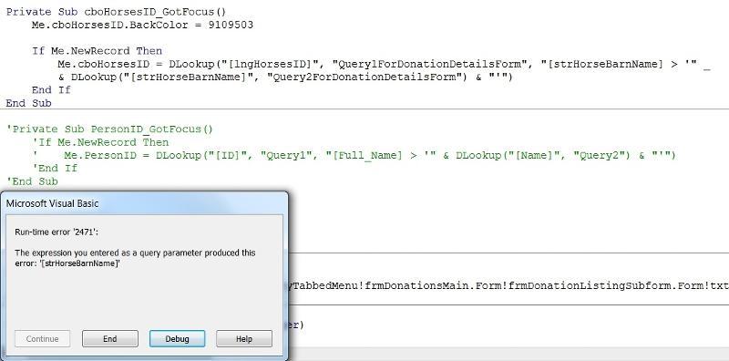 Error Message in Combo Box