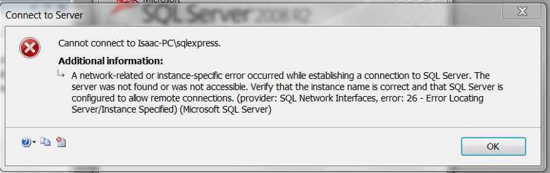 sqlexpress error