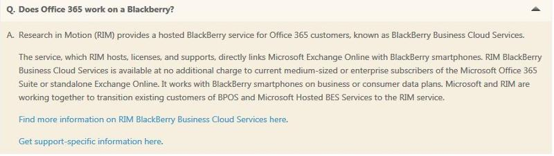 Summary on Office 365 and Blackberry