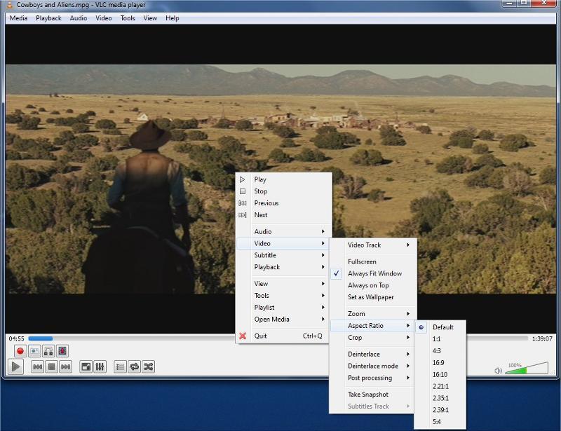 Change the aspect ratio VLC