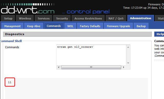 DD-WRT corerev query response