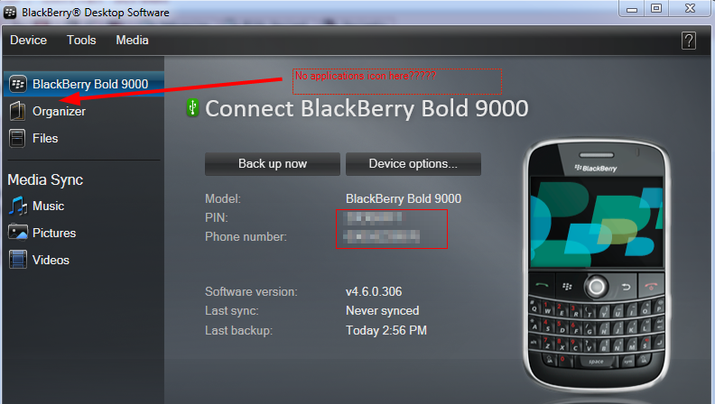 Screenshot of blackberry messenger software