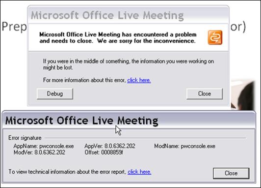 Screenshot of Live Meeting error