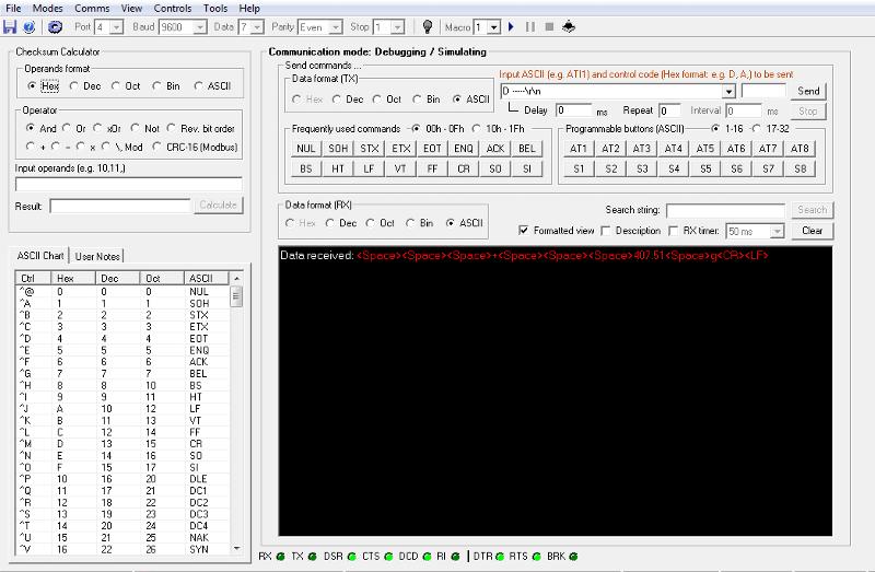 RX (ASCII)