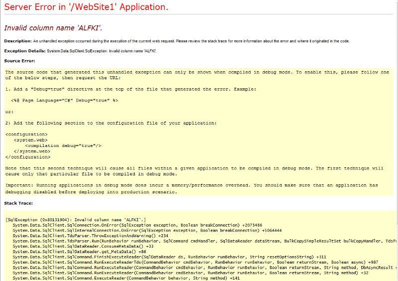 Error on my page called OrdersFilterDataReader.aspx