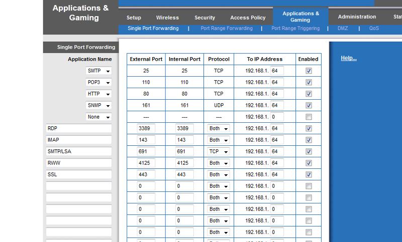 router port forwarding screenshot
