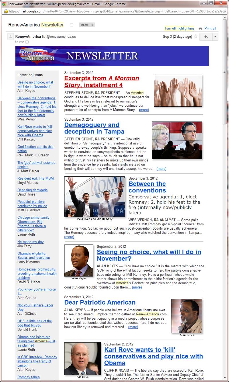 Renew America Newsletter sample