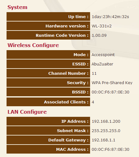 WiFi Access Point Configuration