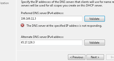 dns validation failure for dhcp role installation
