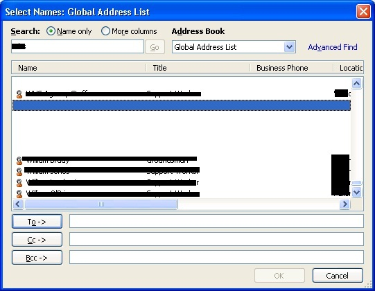 screenshot of address book with missing items