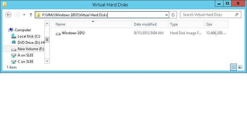 VM Location for Windows 2012