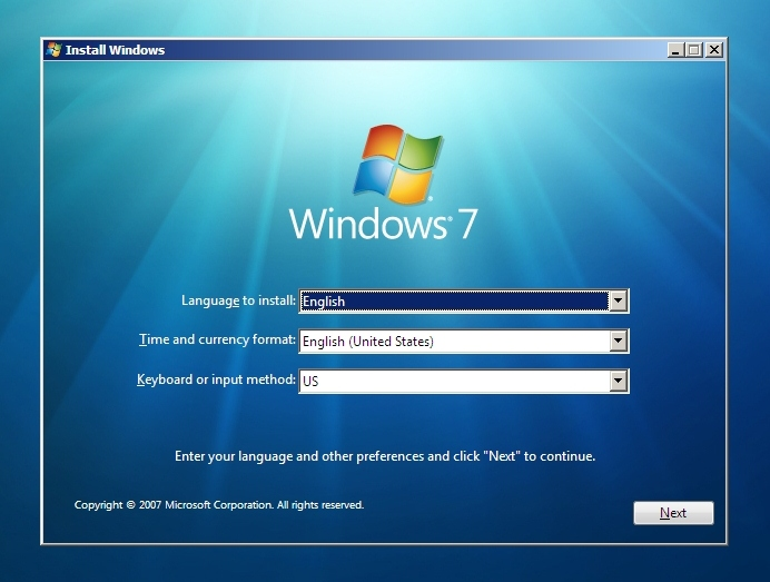 Windows 7 language settings