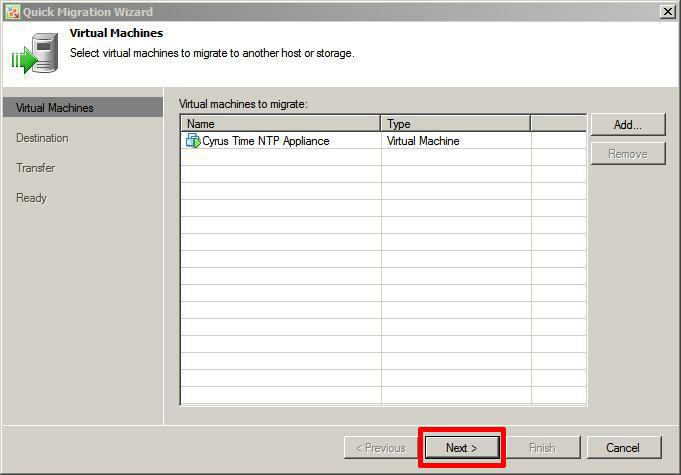 Confirm virtual machine for quick migration