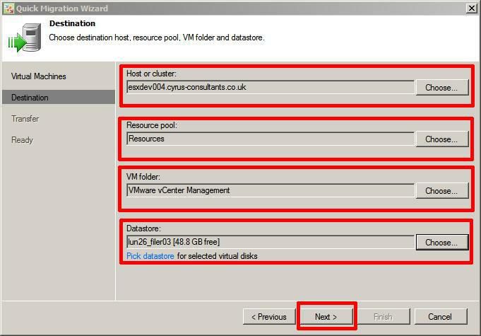 Select Destination host, resource pool, VM folder and datastore.