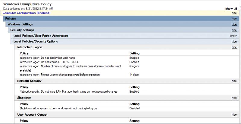 SBSComputers linked/Enforced GPO Settings