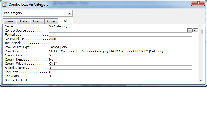 ACCESS Query does not work when drop-down field is empty