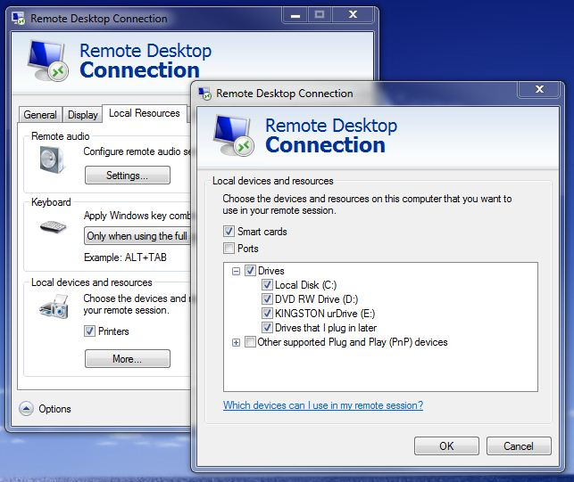 Screenshot of RDP local devices