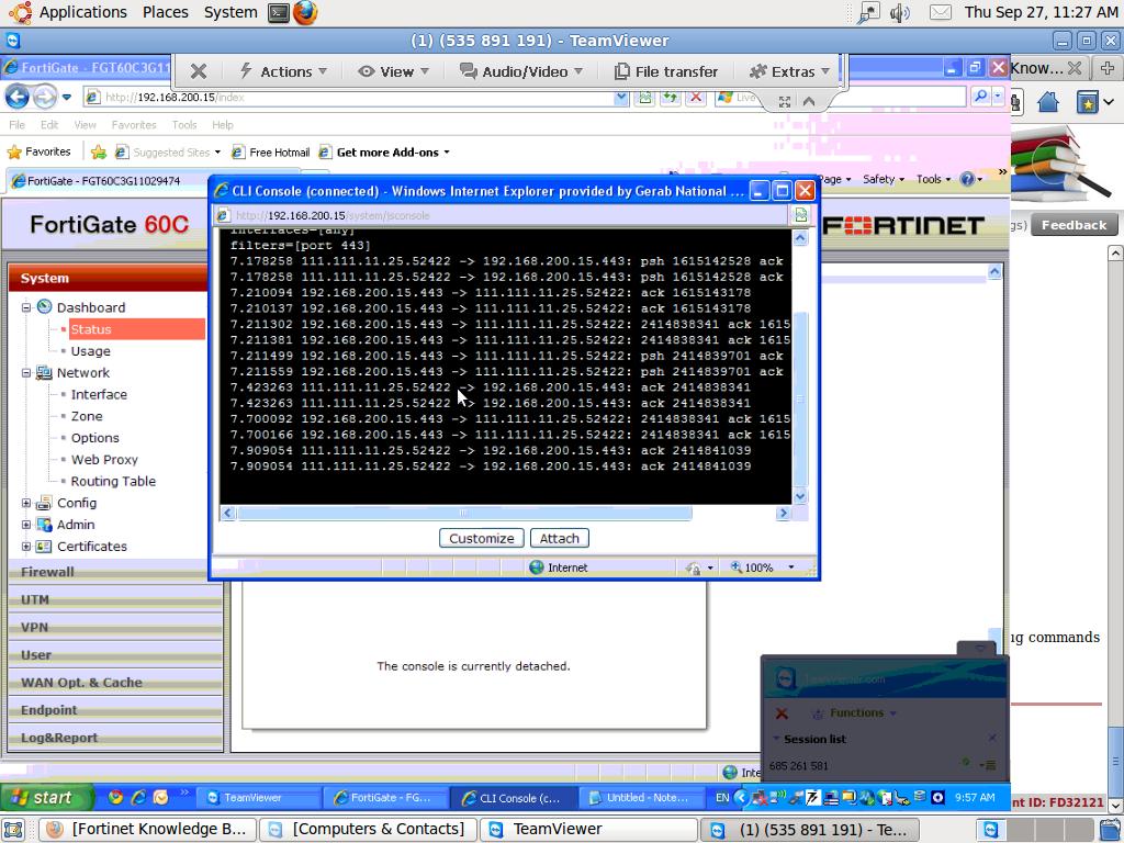Registration unreaachable in FOrtigate firewall