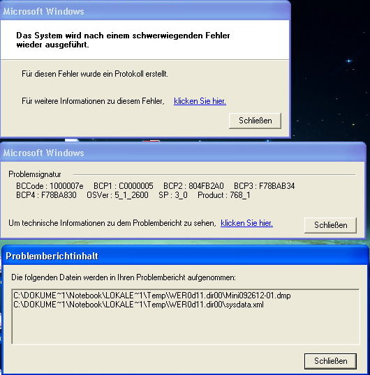 Blue death screen windows xp