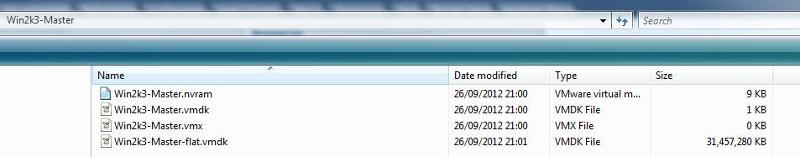 VMFS Datastore View:- Windows 2003 TS Server Master Image which Linked Clones will be from