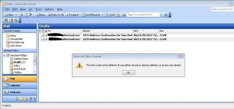 Outlook Drafts Folder