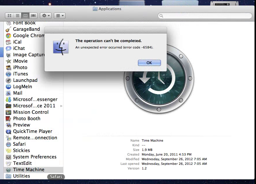 Can't Open Time Machine