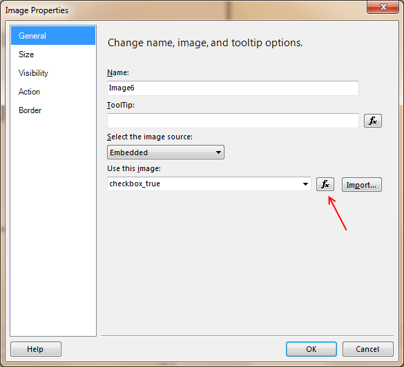 Dragging an image into the report brings up the Image Properties