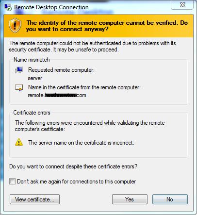 SOLUTION] Remote Desktop Gateway SSL Cert mismatch issues