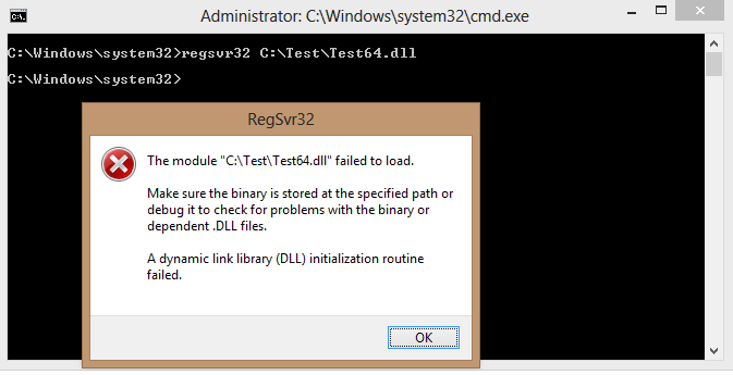 Why is Windows 7/Visual Studio 2010 Built COM DLL fails to register