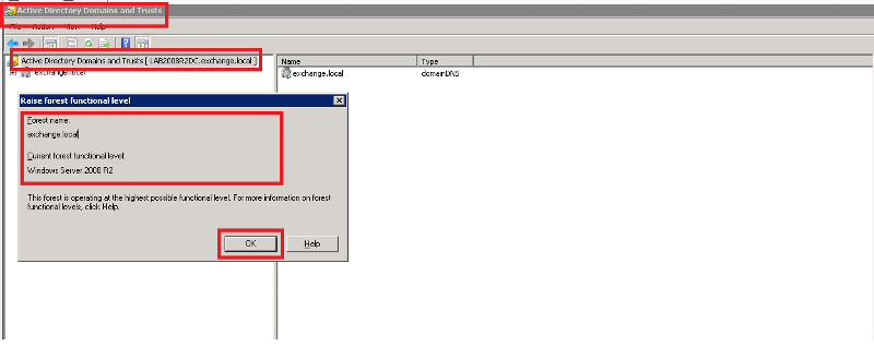 Active Directory Domains and Trusts Check Forest Functional Level