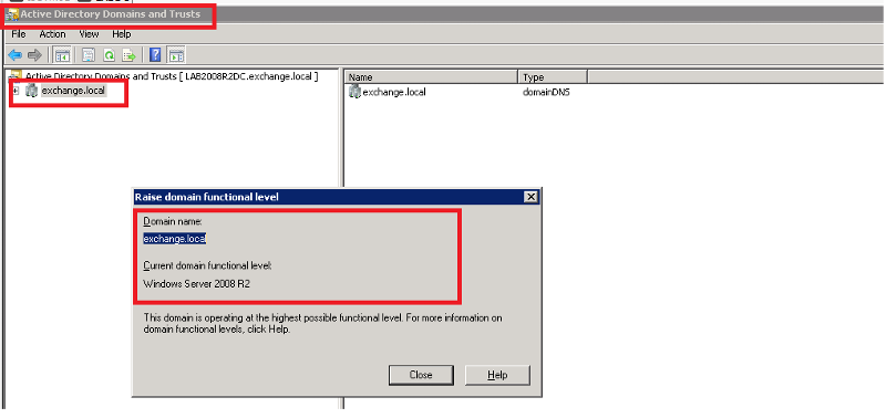 Active Directory Domains and Trusts Check Domain Functional Level