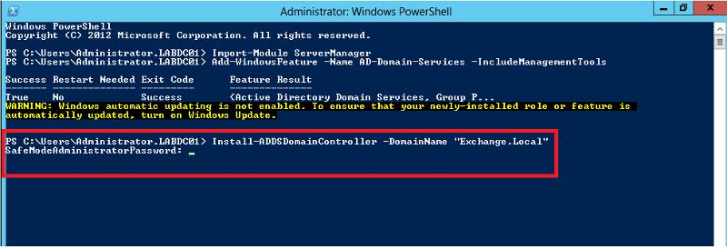 Install-ADDSDomainController -DomainName &quot;<FQDN>&quot;