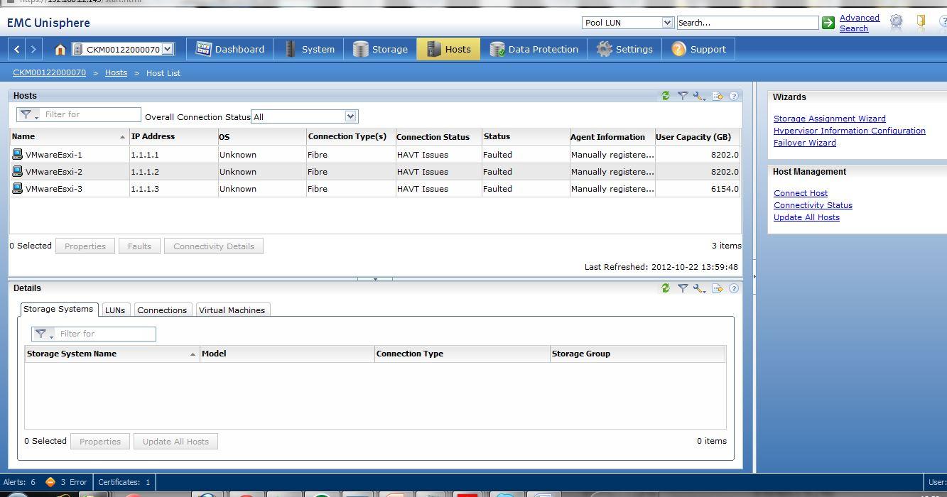 EMC VNX 5300 : HAVT issues