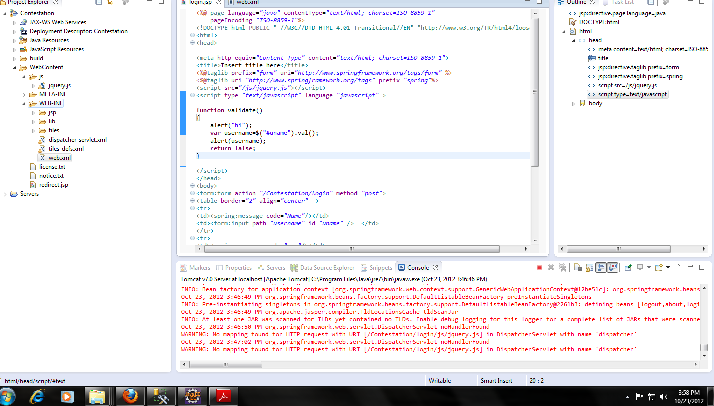 Jquery plug in jsp page not working