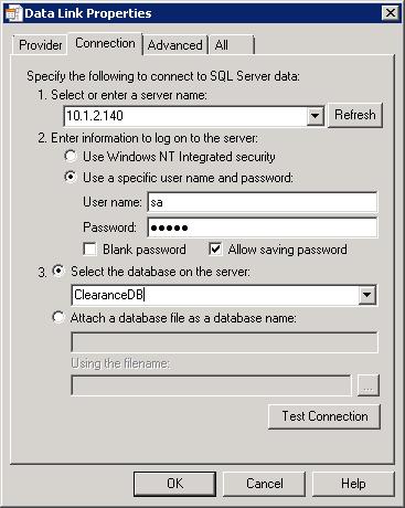 Entering Database Properties & Credentials