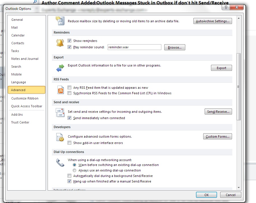 Outlook Messages Stuck in Outbox if don't hit Send/Receive