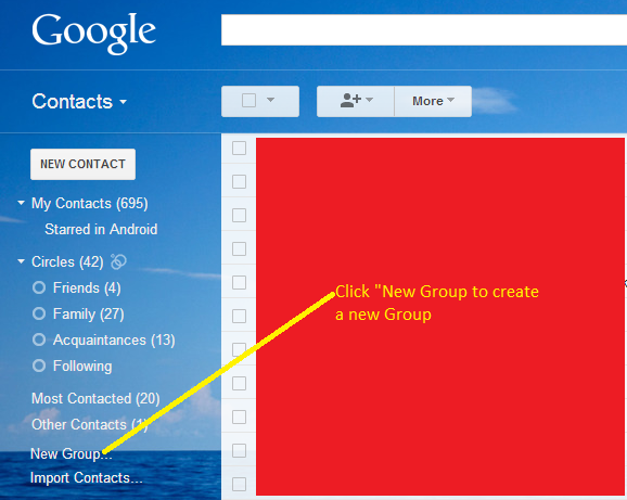Gmail create a new contacts group