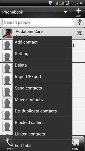Context Menu of the People Application