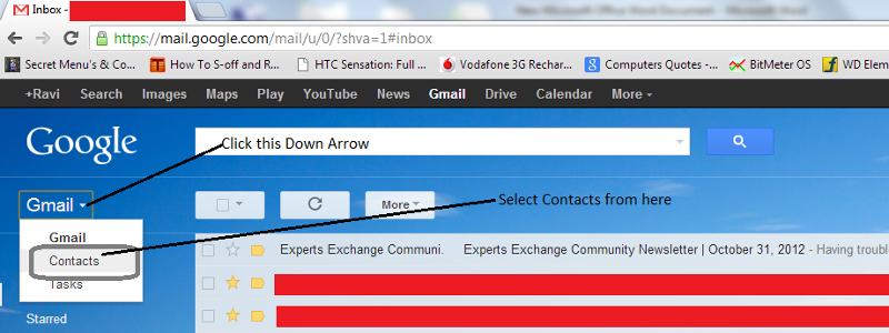 Access Contacts in GMail