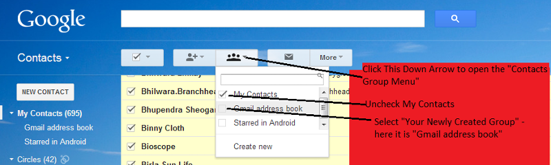 GMail move contacts to new group